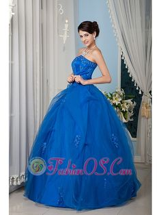 Beautiful Royal Blue 15 Quinceanera Dress A-line / Princess Strapless Tulle Beading Floor-