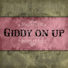 Giddy On Up Pink Cowgirl Western print Word Wall Art 5x5.