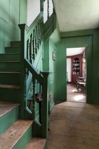 Saltbox house stairway » Love the green.
