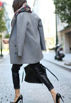 leather trousers + grey coat
