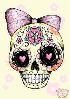 Sugar Skull (Yellow) Art Print by Ella Mobbs - X-Small Sugar Skull Tattoos, Sugar Skull Art, Sugar Skulls, Sugar Art, Future Tattoos, Love Tattoos, Tatoos, Art Tattoos, Girly Tattoos