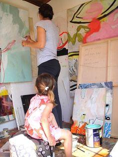 Artist Sarah Boyts Yoder in her studio, 2011