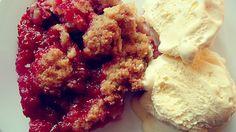 Rhabarber-Himbeer-Crumble mit Vanille
