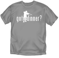 Got Dinner - Hunting - Gray - Youth Large -T-Shirt by Coed Sportswear. $19.50