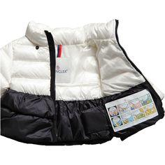 Girls Ivory & Black Down Padded Puffer Jacket | Childrensalon