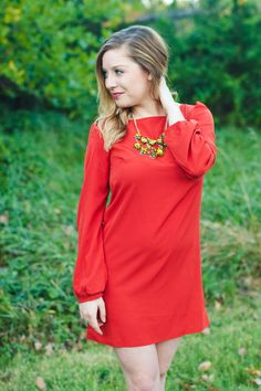 Rust Orange is one of the most popular colors this fall! And this dress shows you exactly how beautiful it is!