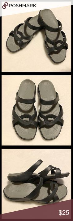 649a5145d7b Crocs Women s Meleen Twist Sandals Crocs women s black gray Meleen Twist  sandals