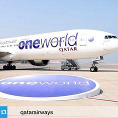 #Repost from @qatarairways --- #ThrowbackThursday: The #QatarAirways #Boeing 777 with the #oneworld livery at Hamad International Airport before the official inauguration of the #airline into the oneworld Alliance? How many oneworld flights have you travelled on? #travel #airlines #aviation #travelling #Boeing777 #avgeek #traveling #tbt #avgeeks #airport #HIAQatar #Qatar #Doha --- طائرة بوينغ ٧٧٧ تابعة للخطوط الجوية القطرية تحمل شعار تحالف ون ورلد في مطار حمد الدولي قبيل التدشين الرسمي…
