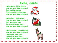 Classroom Freebies: Hello Santa Song and Song Chart Preschool Christmas Songs, Christmas Poems, Christmas Program, Christmas Concert, Preschool Music, Kids Christmas, Christmas Songs For Toddlers, Christmas Crafts, Christmas Music