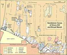 """Sandstone caves under Nottingham.  Map of the caves beneath the Broad Marsh Centre, with those that are open to visitors as """"City of Caves"""", and the caves further west that are not currently accessible."""