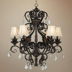 Kathy Ireland Ramas de Luces Bronze Wide Chandelier -Perfect for our black/white kitchen Chandelier Lighting Fixtures, Chandelier Shades, Dining Room Lighting, Home Lighting, Light Fixtures, Lighting Ideas, Kitchen Lighting, Chandelier Ideas, Lamp Shades