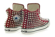 Studded Converse Silver Studs with converse Maroon by customduo, $145.00