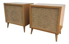 Mid-Century Modern Speakers Birch Wood Cabinets on Chairish.com