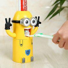 VIVISKY mural 2 yeux Minions Dentifrice Distributeur et porte brosse à dents Set automatique de dentifrice Squeezer (Jaune)