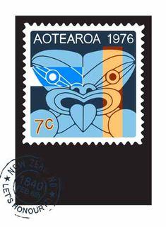 'Te Riti' screenprint, of a Maori tiki style on a postage stamp, by Brad Novak, NZ artist.