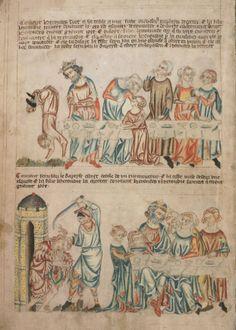 Усечение главы Иоанна Предтечи; Англия; XIV в.; памятник: Библия (Bible ('Holkham Bible Picture Book'). 1327-1335гг.