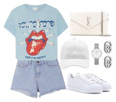 """""""Untitled #4127"""" by magsmccray on Polyvore featuring Pink Stitch, MadeWorn, adidas, Yves Saint Laurent, Daniel Wellington and Gucci"""