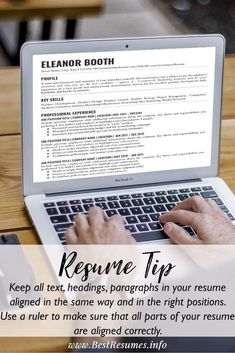 Resume Tip: Make sure all your resume text and contact is align in the same way and aligned correctly.   Check more best resume tips, resume tips templates and resume template examples here: www.bestresumes.info