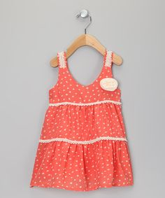 Sweet Charlotte Coral & Cream Polka Dot Dress - Toddler & Girls $25 (available until 5/31 from Zulily)