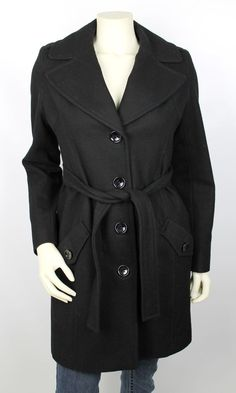 Mike & Chris Tan Wool Cropped Fall Peacoat Jacket Size Extra Small ...