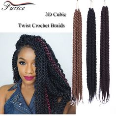 3D Cubic Twist Crochet Braids havana mambo twist crochet braids hair extension 3D TM Split  22inch Ombre Crochet Braiding hair
