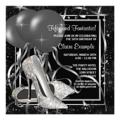 Black and White Party Invitations Unique Black and White High Heels Womans Birthday Party 5 25 Square Paper Invitation Card Glitter Birthday Parties, 50th Birthday Party Invitations, 60th Birthday Party, Birthday Woman, Birthday Ideas, 50th Party, Birthday Decorations, Birthday Celebration, Fiftieth Birthday