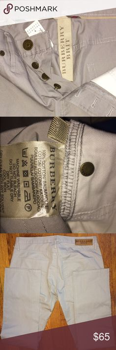 "BURBERRY ""BUTTON FLY FRONT"" SIZE 32x30 BURBERRY BRIT  ""BUTTON FLY FRONT"" STRAIGHT LEG....100% COTTON PANTS...Size ""32x30. EQUIVALENT TO A WOMAN'S 10/12"". I I PURCHASED THESE IN THE MENS""DEPARTMENT ""FOR MYSELF"" I THINK WHY THESE PANTS HAVE NO STRETCH....BUT THEY ARE VERY SOFT. PURCHASED AT BARNEYS NEW YORK. Burberry Pants Straight Leg"