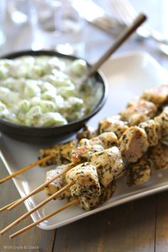 Healthy Chicken Skewers & Tzatziki Sauce