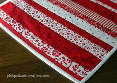 Quilt as you go table runner for Valentines day and Christmas.