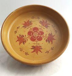 Vintage rosemaling Scandinavian painted orange flowers wooden bowl signed Bett #Rosemaling