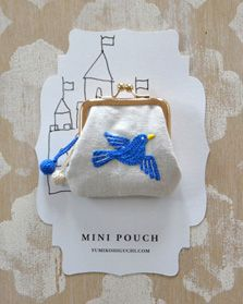 minipouch-Blue-Bird hand embroidered
