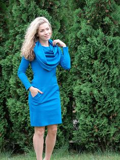 Long sleeve dress with pockets cowl neck dress casual blue dress cowl navy dress casual autumn dress blue dress cosy dress long sleeves cute