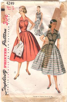 Simplicity 4249 1950s Jr Misses Halter Sun Dress and by mbchills