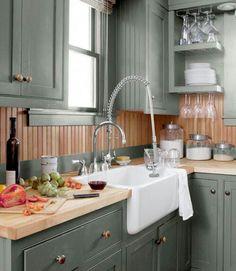 Love this cabinet color!! Benjamin Moore's Mohegan Sage