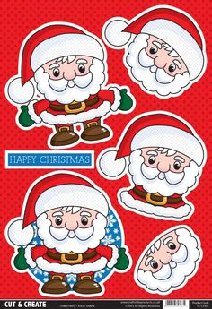 T T Buzzcraft Christmas Cut & Create - Jolly Santa Christmas Sheets, 3d Christmas, Christmas Cards To Make, Xmas Cards, Free Printable Cards, Free Cards, 3d Cards, Christmas Templates, Christmas Printables