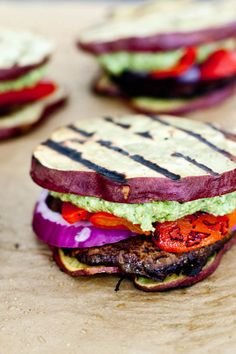 "Sweet Potato Bun Sliders with Portobello, Red Peppers and Pesto ""Mayo"""