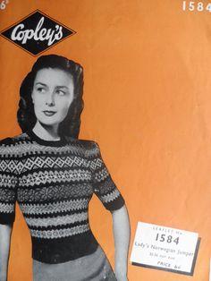 Ladies Norwegian Jumper  Reformatted Vintage Copleys Knitting Pattern 1584, Instant Download A4 PDF