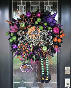 Spooky Sparkle Light-Up Witch Wreath  Witch Wreath by ATwistDivine