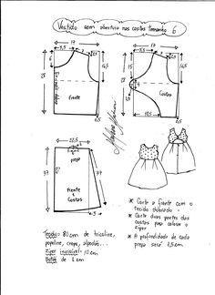 Patrón para hacer un precioso vestido para niñas con la espalda abierta. Tallas desde 1 a 14 años