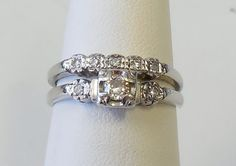 *** $353 *** 14k White Gold, .26ct diamond, would not have to buy a wedding band later as this is a set. May not need to be resized.
