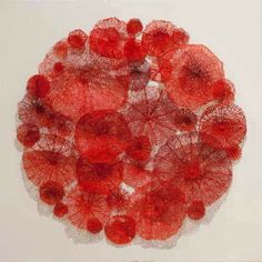 Mushroom coral from 'The Mandala series' by Meredith Woolnough. Embroidery thread on paper. 2013