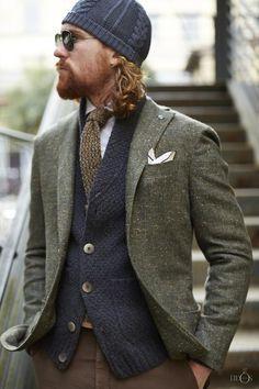 . Beanie suit tie layers textures
