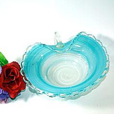 Latticino Art Glass Bowl with Handle, Aqua and White, Murano