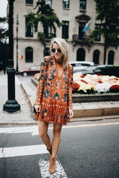 embroidered dress | long sleeve | patterns | blonde cut | short dresses | outings | booties | simple outfit | city