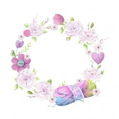 Cartoon wreath of knitted elements and accessories and spring flowers. Vector illustration – Buy this stock vector and explore similar vectors at Adobe Stock – Spring Wreath İdeas. Flower Wreath Illustration, Hand Illustration, Craft Logo, Wreath Drawing, Flower Meanings, Picture Logo, Pencil Art Drawings, Watercolor Drawing, Baby Art