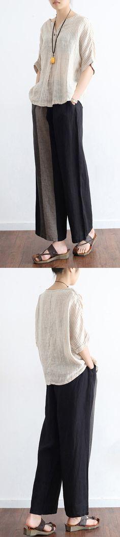 2017 black  patchwork pants oversize linen wide leg pants