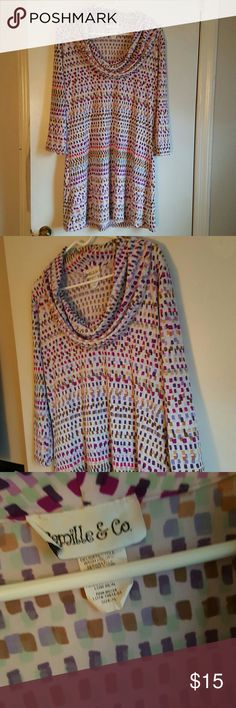 """Camille and Co SZ XL cowl neck tunic dress/shirt Camille and Co SZ XL cowl neck tunic dress/shirt  Multi color pattern  Light stretch material  Worn once in excellent condition   Measures   34"""" long 21"""" wide from underarm to underarm Camille and Co  Dresses Midi"""