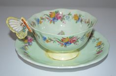 Paragon Cup and Saucer Butterfly Handle Roses Shabby Chic Pastel Rose Vintage | eBay
