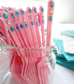 Jazz up kids plastic PARTY CUTLERY with stick-on jewels!! Cheap, simple & effective. Perfect for princess, fairy, mermaid & Frozen parties. Other ideas for parties on a budget: http://www.under5s.co.nz/shop/Hot+Topics/Activities/Birthday+Parties/How+to+save+money+on+kids+birthday+parties.html #kids #parties
