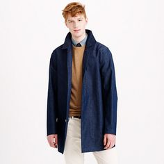 Since 1830, Cumbernauld, Scotland-based Mackintosh has been the go-to maker of some of the finest rain gear in the world. This chambray half trench is made with the same tightly woven bonded cotton that has earned the outerwear maker its reputation (think super-high-quality goods). It's constructed in England and features taped seams to keep out the water, and the slim cut will keep you looking polished even in the most inclement weather. <ul><li>Japanese cotton/linen.</li><li>Standing…